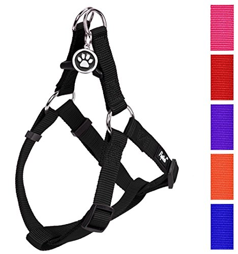 PUPTECK No Pull Dog Harness Adjustable Basic Nylon Step in Puppy Vest Outdoor Walking Chest Girth 14.8'-21' Small
