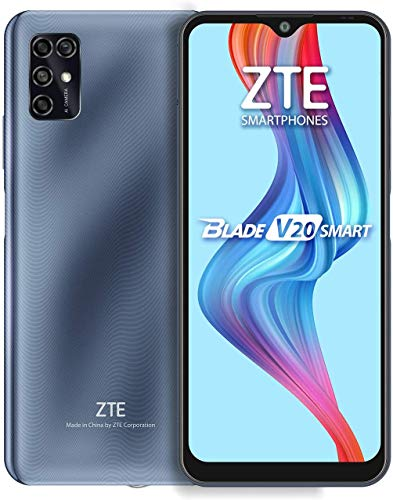 ZTE Blade V20 Smart (128GB, 4GB) 6.82', 16MP Quad Camera, 5000mAh Battery, Fingerprint & Face Unlock, GSM Unlocked US + Latin 4G LTE (T-Mobile, AT&T) International Model 8010 (Gray)