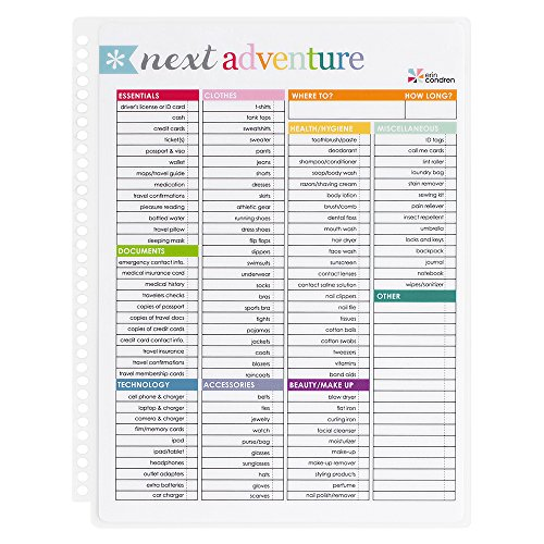 Erin Condren Designer Accessories Snap - in Wet Erase Dashboard for Travel Organization and Planning. Laminated Reusable Whiteboard for Dry and Wet Erase Markers
