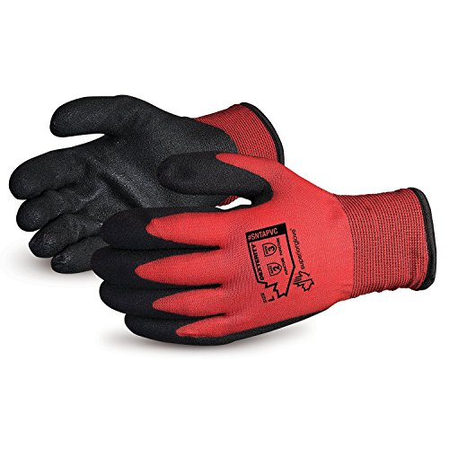 Superior Winter Work Gloves - Fleece-Lined with Black Tight Grip Palms (Cold Temperatures) SNTAPVC – Size Medium