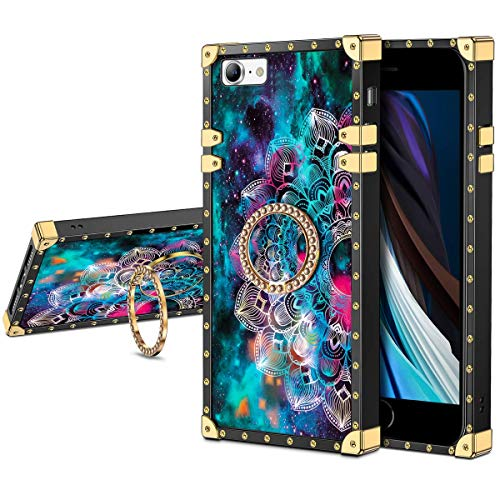 JAKPAK Case for iPhone SE 2020 Case with Ring Holder Kickstand for Girls Women Luxury TPU Case Shockproof Protective Metal Cushion Reinforced Corners Case for iPhone SE 2020 4.7 inches Green Mandala
