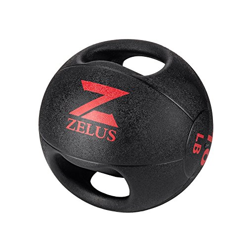 ZELUS Medicine Ball with Dual Grip  10/20 lbs Exercise Ball  Weight Ball with Handles  Textured Grip Exercise Ball  Strength Training  Core Workouts Balance Training . Weights for Exercises