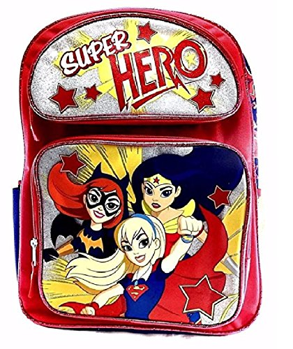 New DC Super Hero Girls 16' Large School Backpack-Red
