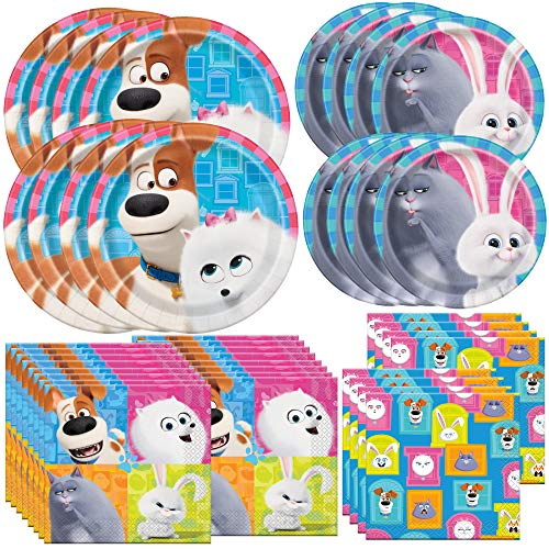 Unique Secret Life of Pets 2 Party Bundle | Luncheon & Beverage Napkins, Dinner & Dessert Plates, Table Cover | Great for Kids Birthday Party, Halloween, Christmas, Family Reunions
