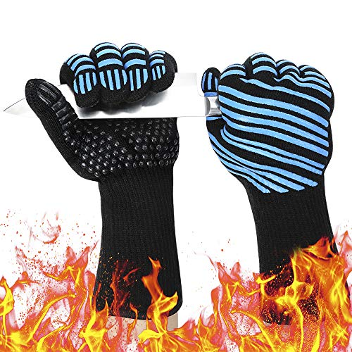 932℉ Extreme Heat Resistant BBQ Gloves, Food Grade Kitchen Oven Mitts - Flexible Oven Gloves with Cut Resistant, Silicone Non-Slip Insulated Hot Glove for Grilling, Cooking, Baking, Welding (1 Pair)