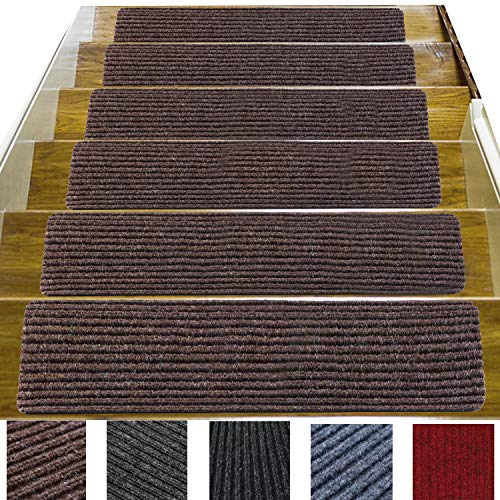 14 Pack-(8'x 30'),Non-Slip Stair Treads Carpet Indoor, Anti Slip Stair Mats, Skid Resistant Rubber Backing for Child Proofing/Pet Safety/Elderly Safety, Brown