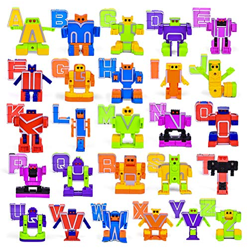 FUN LITTLE TOYS 30 PCs Alphabet Toys for Kids, Transforming Robot Toy for Easter Eggs Stuffers, Easter Eggs Fillers