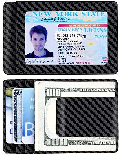 Money Clip Carbon Fiber RFID Blocking Front Pocket Leather ID Credit Card Holder Wallet for Men Black