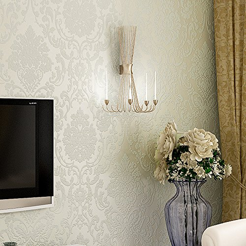 Blooming Wall Peel&Stick Textured Damasks Prepasted Wallpaper Wall Mural, (White)