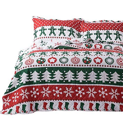 Bedsure Christmas Quilt Set King Size (106x96 inches) - Gingerbread Man Pattern - Soft Microfiber Lightweight Coverlet Bedspread for All Season - 3-Piece Bedding (1 Quilt + 2 Pillow Shams)