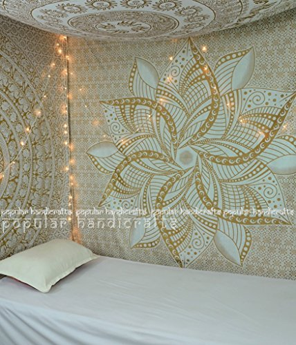Popular Handicrafts Kp649 Large Moon Ombre Gold Tapestry Indian Mandala Wall Art Hippie Wall Hanging Bohemian Bedspread Multi Purpose Tapestries 84x90 Inches, White Gold