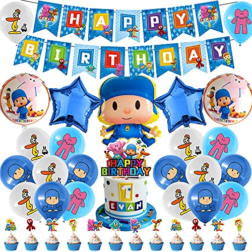 55 Pcs PP Party Decorations, PP Theme Decor Including Cake Toppers Balloons Banner Set for Baby Shower Birthday Party Supplies