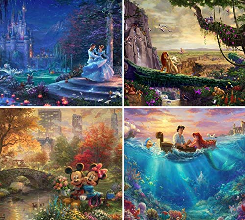 Ceaco Thomas Kinkade The Disney Collection 4 in 1 Multipack Cinderella, The Lion King, Mickey and Minnie Mouse, The Little Mermaid Jigsaw Puzzles, (4) 500 Pieces
