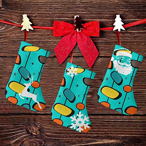 NHJMH Mid Century Modern Christmas Stocking 3 Pcs Set, 7.5' Santa Socks, Sock Sack Gift Bag Christmas Tree Fireplace Ornaments Xmas Reindeer Party Decorations Kids Gifts