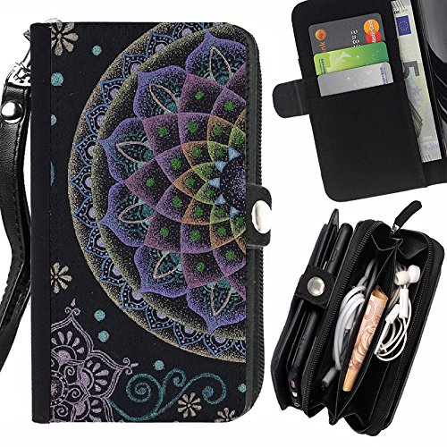 Graphic4You Indian Mandala Tattoo Zipper Wallet with Strap Card Holder Case Cover for Samsung Galaxy S6 Active