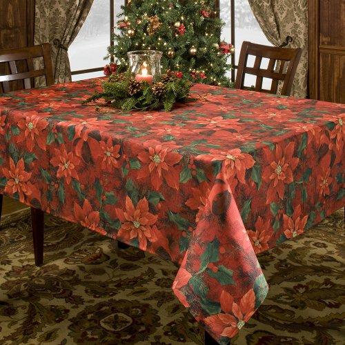 Benson Mills PoinSetta Elegance Printed Fabric Tablecloth, 70 Inch Round