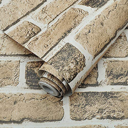 QIMAY Brown Brick Stone Wallpaper Peel and Stick 17.7'×236' Brick Wallpaper Self Adhesive Removable Contact Paper Faux Textured Wall Paper Waterproof Wallpaper Home Decor Vinyl Film Roll