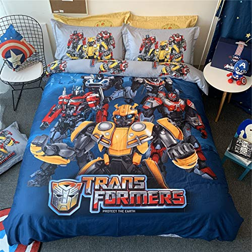 Cenarious Transformers Optimus Prime Bumblebee Cartoon Style Duvet Cover Set Cotton Flat Sheet Bed Cover - 3Pcs Bedding Set - Twin Flat Sheet Set - 61'x80' - 155x205cm