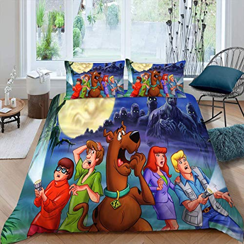 Comforter Bedding Set 3 Piece Set, Scooby Doo Duvet Cover Set Duvet Cover + 2 Pillow Shams with Zipper Closure Ultra, Twin (68x88 inches) Return to Zombie Island