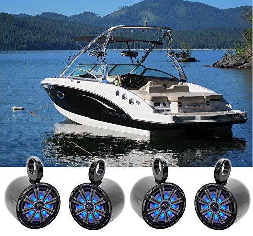 (4) KICKER 45KM84L 8' 1200 Watt Marine Boat Wakeboard Tower Speakers w/LED's KM8
