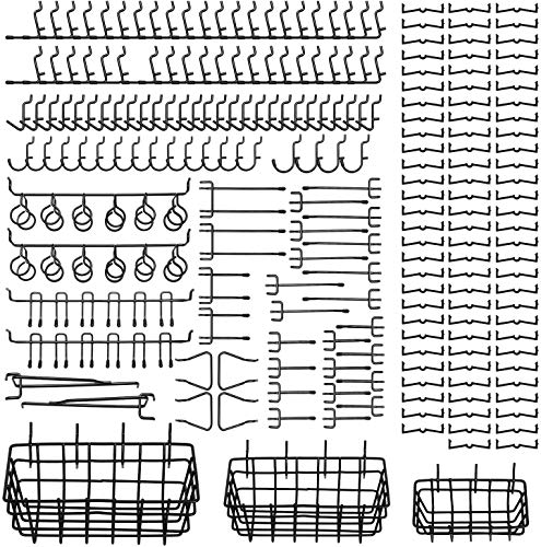 122Pcs Pegboard Hooks Assortment with 3 Pegboard Baskets Organizing Tools Garage Storage System for Kitchen Craft Room Black