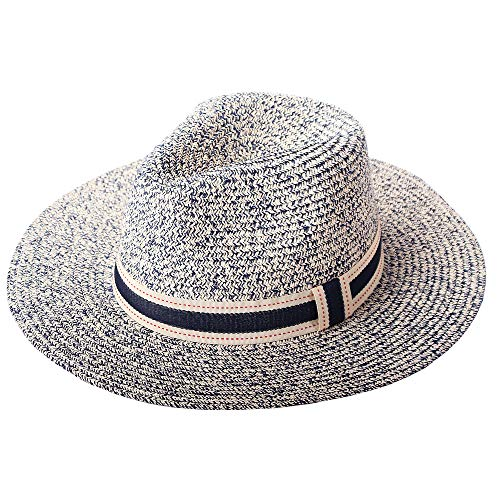 RIONA Women Wide Brim Straw Panama Roll up Hat Fedora Beach Floppy Sun Hat Summer UPF50+ Navy