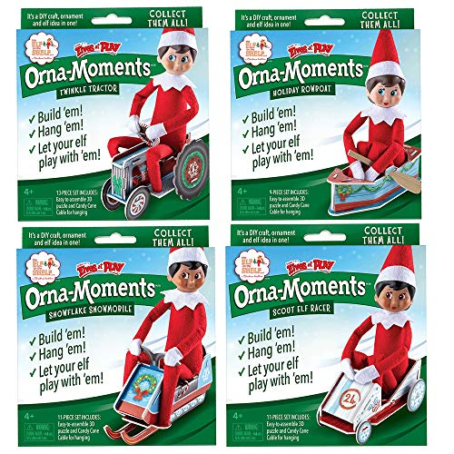 The Elf on the Shelf All New 2019 Orna-Moments Papercraft Ornament Set of 4:Twinkle Tractor, Holiday Rowboat, Scout Elf Racer & Snowflake Snowmobile