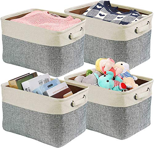 Diateklity 4 Pack Storage Basket Bin Set Foldable Storage Bins Fabric Collapsible Cube Organizer with Handles for Shelf Closet Books Toys Office Home (Grey and White, Large - 15 x 10.2 x 8.5inch)