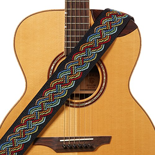 Amumu Celtic Knot Guitar Strap Multi-Color Polyester for Acoustic, Electric and Bass Guitars with Strap Blocks & Headstock Strap Tie - 2.36' Wide