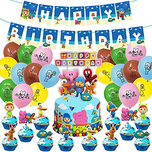 Pocoyo Birthday Party Supplies and Decorations for Boys and Girls 1st 2nd 3 4 Years Set Includes Happy Birthday Banner Balloons Cake Topper Party Favors