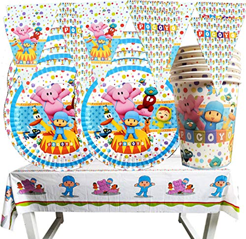 POCOYO PARTY PARTY US DECORATION SUPPLIES 25PC PARTY SET INCLUDES: 6X4FT TABLE COVER + 8FT BANNER + 12PC CAKE PLATES 7' + 12PC KIDS CUPS 8OZ 4'