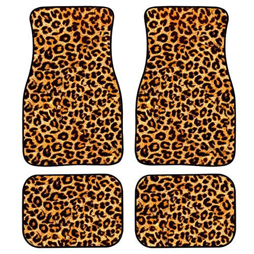 HUGS IDEA Animal Leopard Print 4 Piece Car Floor Mat Foot Mats Anti-Slip Auto Car Front and Rear Area Rugs Car Accessories