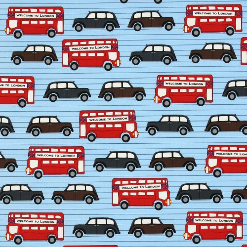 Cotton Next Stop London Double Decker Buses & Cars Routemaster Travel Tourist England Fabric by the Yard (AWN-12800-63 SKY)