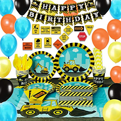 WERNNSAI Construction Party Supplies Set - Dump Truck Party Decorations for Boys Kids Birthday Banner Balloons Signs Cutlery Bag Table Cover Plates Cups Napkins Straws Utensils 16 Guests 181 PCS