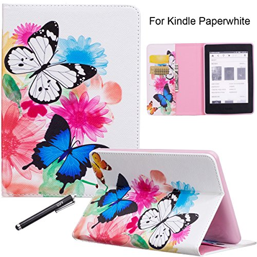 Newshine Kindle Paperwhite Case, Auto Wake/Sleep Flip Synthetic Leather Cover for Amazon Kindle Paperwhite E-Reader 6' (Fits 2012, 2013, 2015 and 2016 Versions) with Card Slots - Butterfly