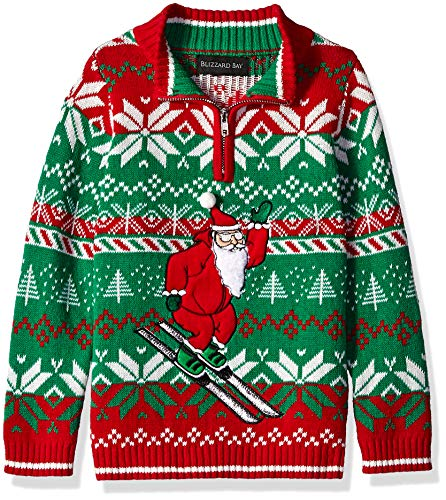Blizzard Bay Boys Ugly Chrismas Sweater Santa, red Green Combo, 4 S
