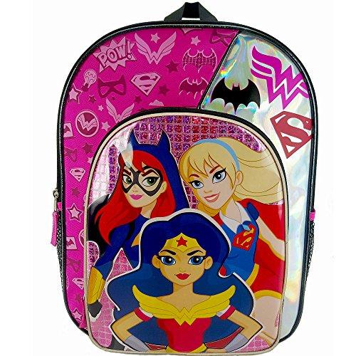 DC Comics Super Hero Girls Batgirl, Wonder Woman and Supergirl Backpack with Side Mesh Pockets