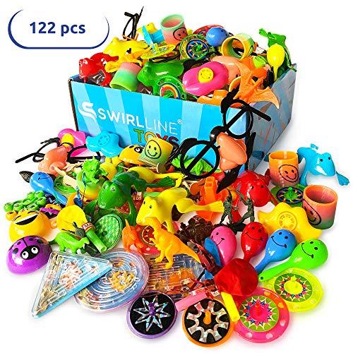 S SWIRLLINE Party Favors Kids Pinata Filler- Carnival Prizes Toys Bulk Assortment - Boys Girls Birthday Easter Egg Filler - Treasure Box Chest Classroom