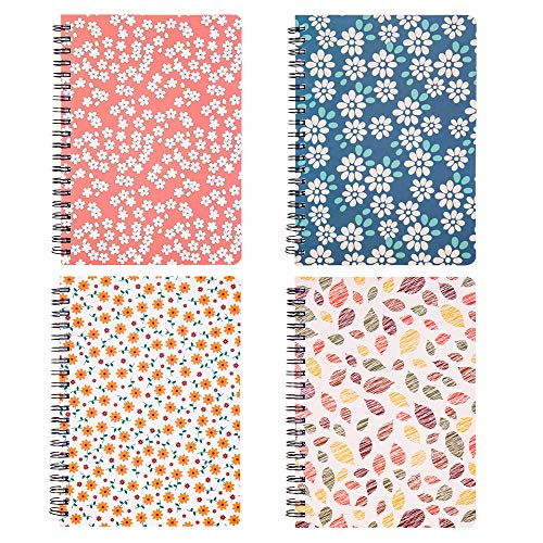 Spiral Notebook 5×7 Inch, 4 Pack College Ruled Journals Spiral Bound Notebooks, Hardcover Floral Notebooks for Studio Girls Women, 80 Sheets/160 Pages, B6 Size, Assorted Colors