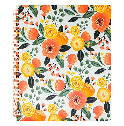 Steel Mill & Co Cute Large Spiral Notebook College Ruled, 11' x 9.5' with Durable Hardcover and 160 Lined Pages, Beautiful Orange Floral Pattern
