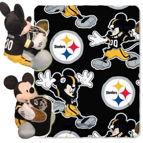 NFL Pittsburgh Steelers Co-Brand Disney Mickey Mouse Hugger & Fleece Throw Set, 40' x 50'