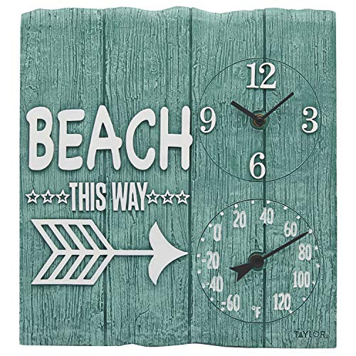 Taylor Precision Products 92685T 14' x14 Poly Resin Beach This Way Clock with Thermometer, Multicolored