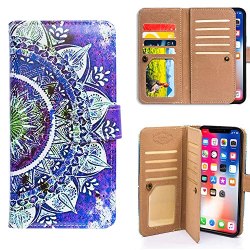 Bfun Packing iPhone XR Case,Bcov Purple Circular Mandala Wallet Flip Leather Cover Case with 7 Credit Card Slots ID Card Holder Money Pocket for iPhone XR