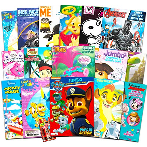 16 Bulk Coloring Books for Kids Ages 4-8 - Assortment Includes 16 Books with Games, Puzzles, Mazes and Stickers (No Duplicates)