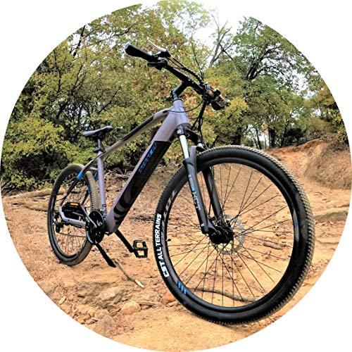 Totem MX1 Electric Mountain Bike, 350W Brushless Motor, 20 MPH Top-Speed, 27.5' Tires, 24-Speed Shimano Gear-Set, IP65 Rated LCD Display, SunTour XCT Suspension, Tektro Dual Disc Brakes