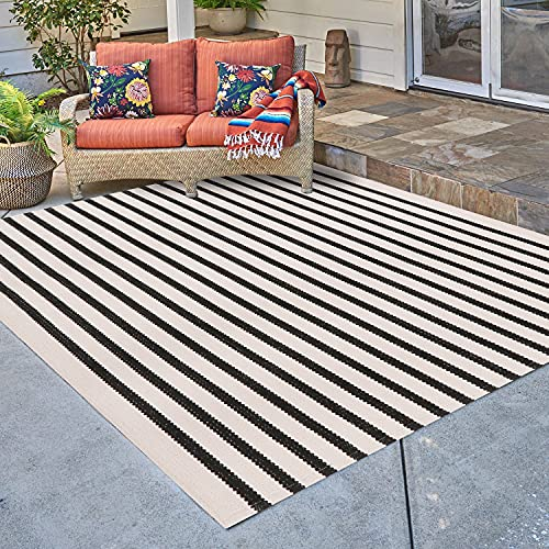 Ailsan Boho Stripe Area Rug 4' x 6' Cotton Woven Black and Cream Outdoor Throw Rugs Runner Farmhouse Doormat Washable Reversible Rug Bathroom Floor Mat for Bedroom Living Room Kitchen