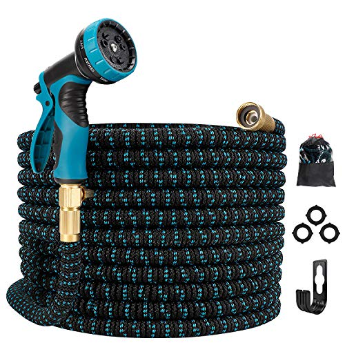 Gpeng 50ft Expandable Garden Hose, Water Collapsible Hose with 9 Function Spray Nozzle, Durable 3-Layers Latex Core with 3/4' Solid Brass Fittings, Lightweight Expanding Flexible Hose
