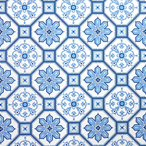 Peel and Stick Wallpaper Blue White Contact Paper White Blue Wallpaper Removable Bathroom Flower Film Tile Waterproof Kitchen Self Adhesive Wall Paper Wall Covering Backsplash Vinyl Roll 78.7''x17.7''