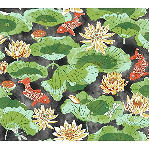 York Wallcoverings Waverly Classics II Lotus Lake Removable Wallpaper, Blacks