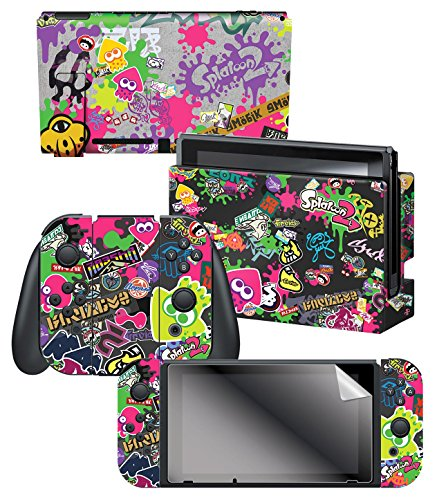 Controller Gear Nintendo Switch Skin & Screen Protector Set, Officially Licensed By Nintendo - Splatoon 2 'Stick Em' Up' - Nintendo Switch